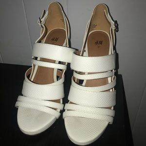 White leather H&M heels size 6